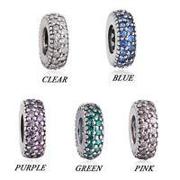 925 Silver Sterling crystal Pave slim Spacer Charm Fit European Branded bracelet