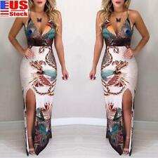 Womens Sexy V Neck Bodycon Long Dress Ladies Sleeveless Evening Party Club Dress