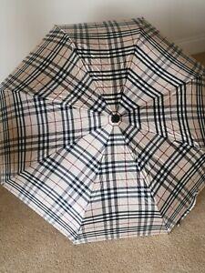Retro Vintage Burberry Nova Check Compact Folding Umbrella