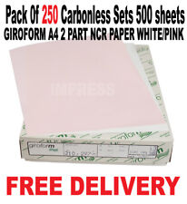 GIROFORM A4 2 PART NCR PAPER WHITE/PINK Pack of 250 Carbonless Sets 500 sheets