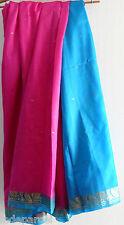 Sari bleu turquoise et rose fuschia en soie