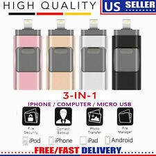 256GB 512GB USB Flash Drive Memory Stick U Disk 3 in 1 for Android IOS iPhone US