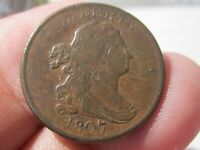 1807 Draped Bust Half Cent (1/2 cent) Very Fine ++ Cond. LOT # 2020-213