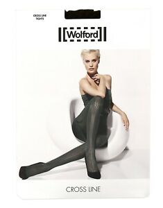 Wolford Cross Line Tights in Maroon 38626 Size L