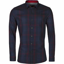 New Mens Slim Fit Button Up Check Shirt Long Sleeve Smart Formal Casual Top