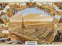 1889 PARIS EXPOSITION UNIVERSELLE LANDMARKS TOURISM FRENCH VINTAGE POSTER REPRO