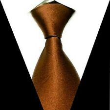 Tan Men Solid Party Wedding Groom jacquard weave Neck Tie 100% Silk Necktie S14