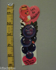Vtg Valentine Card Anthropomorphic Grapes Fruit Food Redbird UNUSED