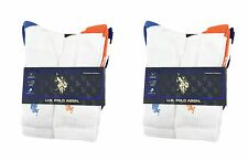 Lot of 12 Pairs Mens U.S. Polo Assn. Causal Crew Socks White Mixed Color 10-13