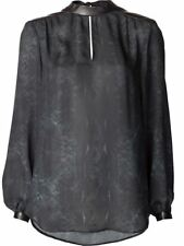 Haute Hippie Black/Swan Printed Keyhole Silk Combo Leather  Blouse Top  Size S