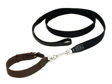 HERMES for Dog Collar Lead 2 Point Set Black / Brown ,Canvas / Leather