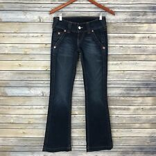 True Religion Womens Dark Wash Emma Flare Jeans Lightly Distressed Pants Long 26
