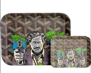 PABLO ESCOBAR METAL ROLLING TRAY - SMALL OR LARGE smokers tray