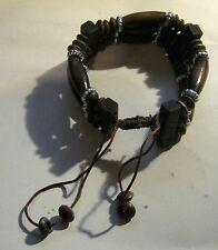 Bracciale etnico sentire perline in legno stile bracciale completamente regolabile