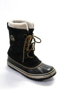 Sorel Womens Lace Up Black Suede Mid Calf Snow Boots Shoes Size 7.5