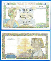 France 500 Francs 1940 Serie X La Paix Great Bill Europe Frc Frcs Free Ship Wld