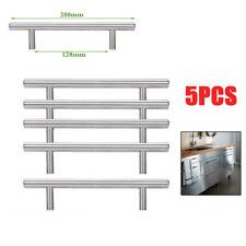 5Pcs T-Barra Manijas Tiradores Para Cajón Muebles Acero Inoxidable Cepillado
