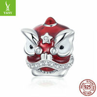 Women Authentic 925 Sterling Silver Accessory Lion Dance Charm Bead Fit Bracelet