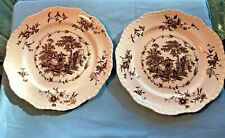 2Vintage Mason's Ironstone Brown WATTEAU Transferware Dinner Plates 10.25 inches