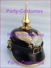 German Pickelhaube Helmet WW1 WW2 Officer Long Spiked Prussian Leather Helmet