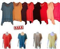 New Womens Ladies Mesh Crochet 2 in 1 Waterfall Drape Hanky Hem Top Plus Size