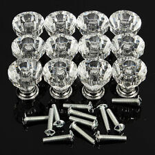 12Pcs 30mm Pull Handle Diamond Shape Glass Cabinet Knob Cupboard Drawer