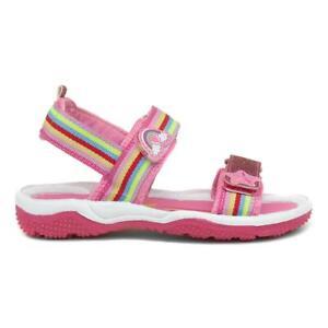 Walkright Girls Pink Rainbow Easy Fasten Sandals Size UK 6,7,8,9,10,11,12,13,1,2