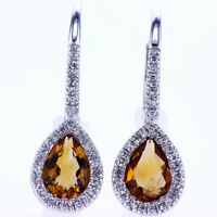 1.24 CT Yellow Citrine & Diamond Earrings F SI 18K White Gold