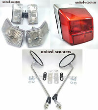Vespa PX125 P200 Stella LML Side Mirror Tail Light Front & Rear Blinkers Chrome