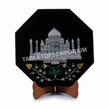 """8""""x8"""" Black Marble Taj Mahal Art Serving Plate Hand Curved Halloween Day Gifts"""