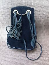 Rosenfeld Black Purse Handbag Suede Leather Very Cool And Hip
