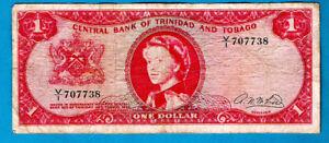 Trinidad and Tobago P26b 1 Dollar QEII Central Bank Sign A N McLeod 1964 VF+ RAR