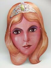 Vintage Halloween Mask Paper Card Princess Fantasy Girl Tiara Magical Art 1970's
