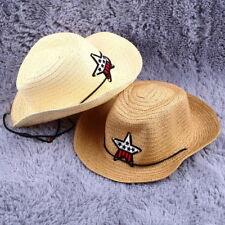 Children Western Cowboy Straw Sun Hat Wind-proof Cap Big Wide Brim Sunbonnet PA