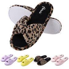 Aerusi Women Cozy Soft Spa Slippers Open Toe Fleece Indoor House Anti-slip Shoes