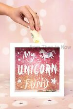 My Unicorn Fund Glass Front Frame Money Box Coin Bank Savings Gift Boxed Pink