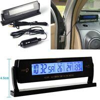 DC12-24V Digital Car Multifunction Thermometer Voltage Meter Monitor Alarm Black