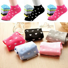 5Pairs Adult Women Sports Casual Heart-shaped Ankle Low Cut Cotton Socks Pro