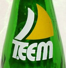 Vintage soda pop bottle TEEM by Pepsi Cola green glass sailboat logo n-mint cond