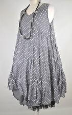 FAB DESIGNER 'SHE; POLKA DOT GREY/WHITE LAYERING DRESS SIZE L/XL