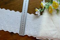 Cambric Lawn Cotton Embroidered Eyelet Lace IVORY 11cm wide 5 Metre Length 4701