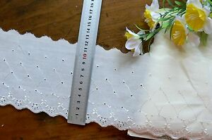 Cambric Lawn Cotton Embroidered Eyelet Lace IVORY 11cmWide 1.5 Metre Length 4701