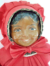 """Antique 16"""" Black Doll Marked Only """"C"""" Century? Composition / Cloth Excellent"""
