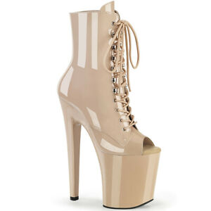"""Pleaser XTREME-1021 Beige Patent 8"""" Heel 4"""" Platform Peep Toe Lace-Up Ankle Boot"""
