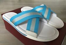 500$ Bally Bonks White and Blue Leather Sandals size US 9 Made in Italy