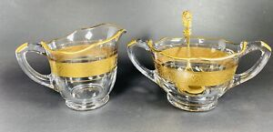 Vintage Clear Glass Floral Gold Band Creamer Sugar Bowl Set With Rose Spoon