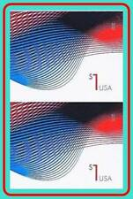 USA 2015 PATRIOTIC WAVES $1 imperforated (no DIE CUTS) VERTICAL PAIR MNH XTRA!!