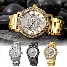 Geneva Fashion Women Men Crystal Stainless Steel Analog Quartz Gold Wrist Watch