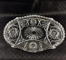 Bandeja De Vidrio Antiguo Art Deco Soporte de la vanidad sirviendo placa festoneado de cristal