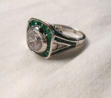 White Topaz Emerald Ring Sterling Silver .925 Vintage